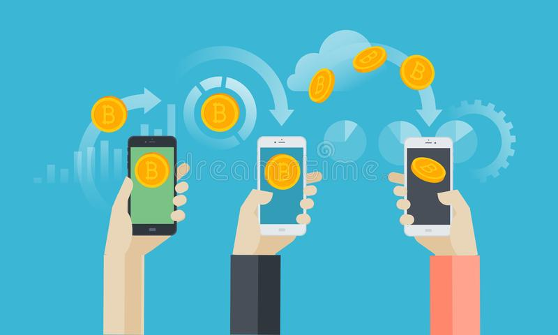 Mobile bitcoin wallet. Flat design style web banner of blockchain technology, bitcoin, altcoins, cryptocurrency mining, finance, digital money market vector illustration