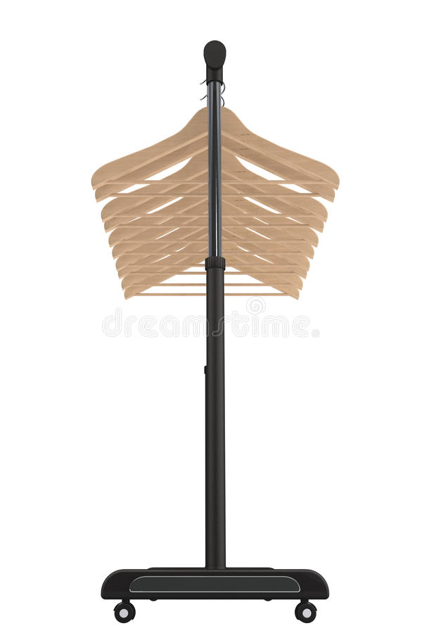 Mobile black coat rack with hangers stock photo