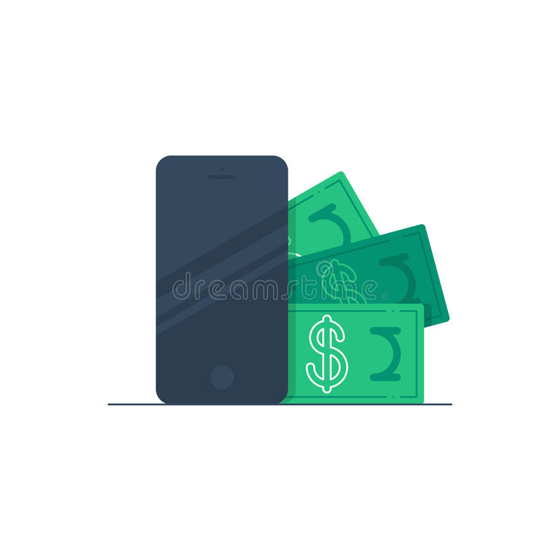 Mobile business concept, phone call expenses stock illustration
