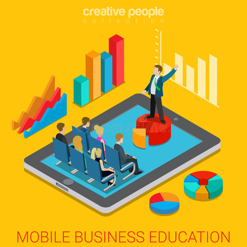 Mobile business education online course flat 3d isometric vector vector illustration