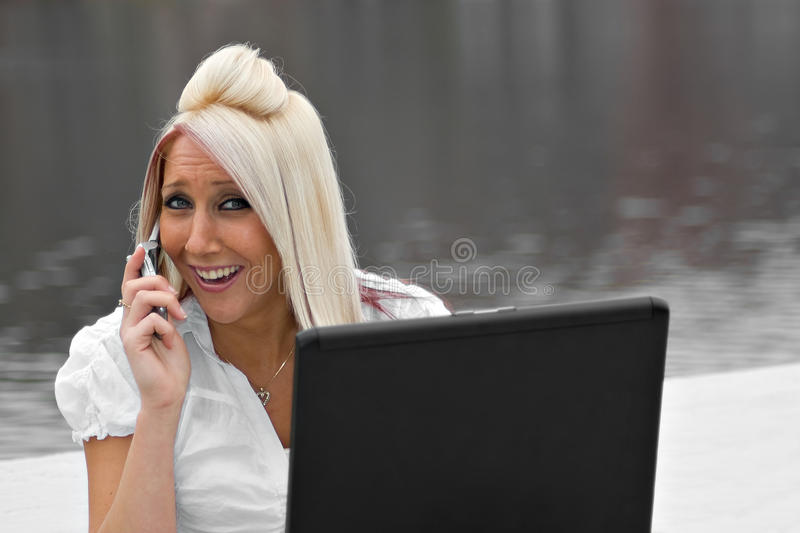 Mobile Business Woman stock photos