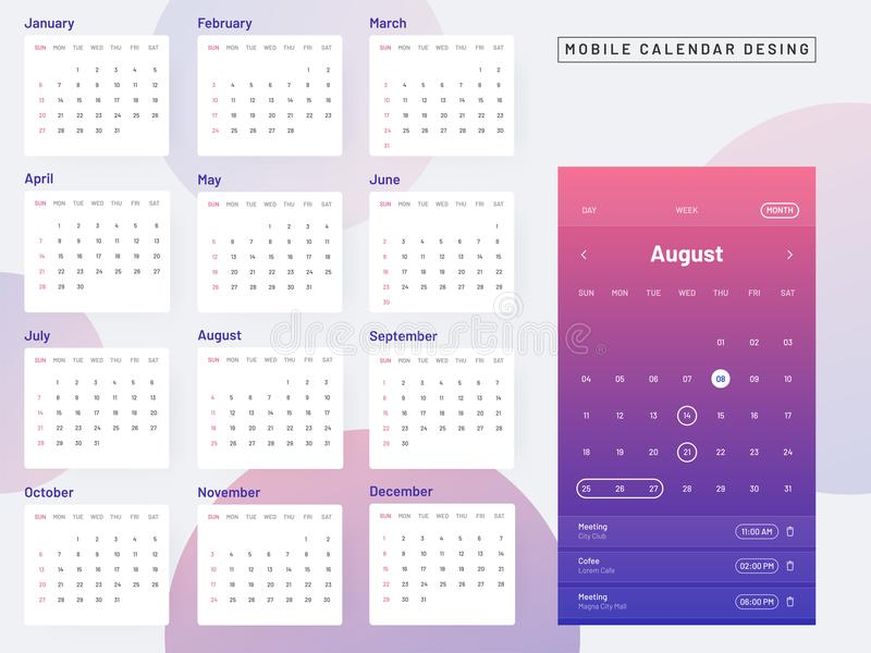 Mobile calendar design concept, monthly calendar on abstract background. stock illustration