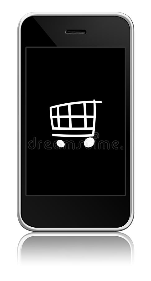 Mobile with cart inside royalty free illustration
