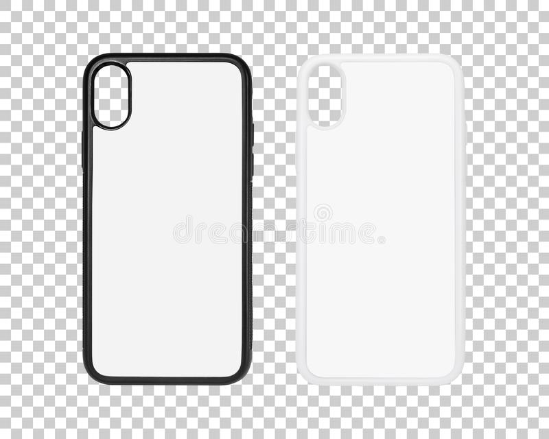Mobile case isolated on transparent layer background. Blank phone cover for your design. Clipping paths object. Mobile case isolated on transparent layer royalty free stock photo