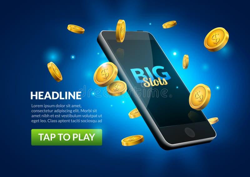 Mobile casino slot game. Flying phone marketing background for casino jackpot slots machine.  vector illustration