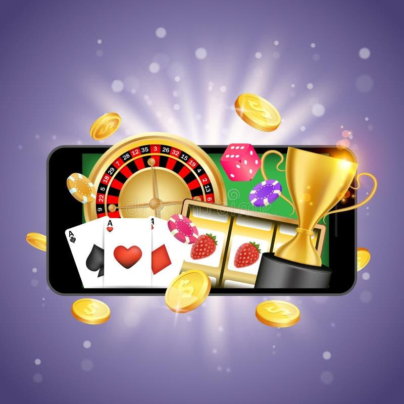 Mobile casino vector poster banner design template stock illustration