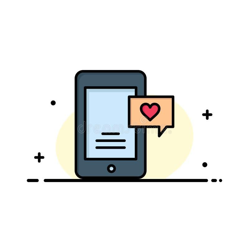 Mobile, causerie, bulle de causerie, affaires Logo Template de causerie d'amour couleur plate illustration stock