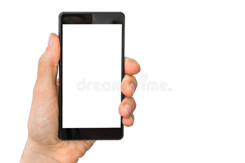Mobile cell phone with blank white screen in female hand stock photos