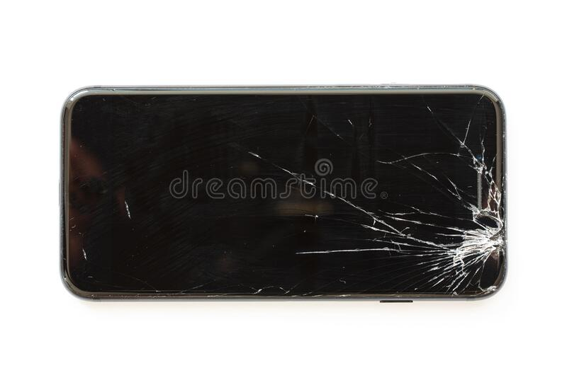 Mobile cell phone with broken display screen after drop. royalty free stock photography
