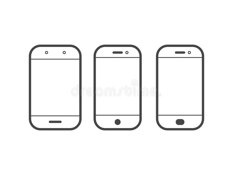 Mobile or cell phone outline vector simple icon vector illustration