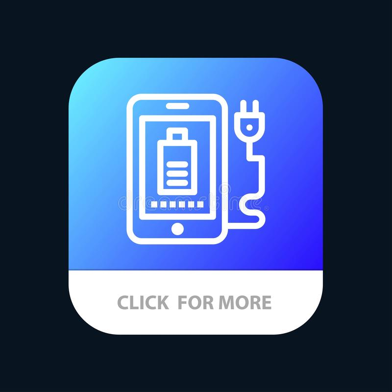 Mobile, Charge, Full, Plug Mobile App Button. Android and IOS Line Version stock illustration