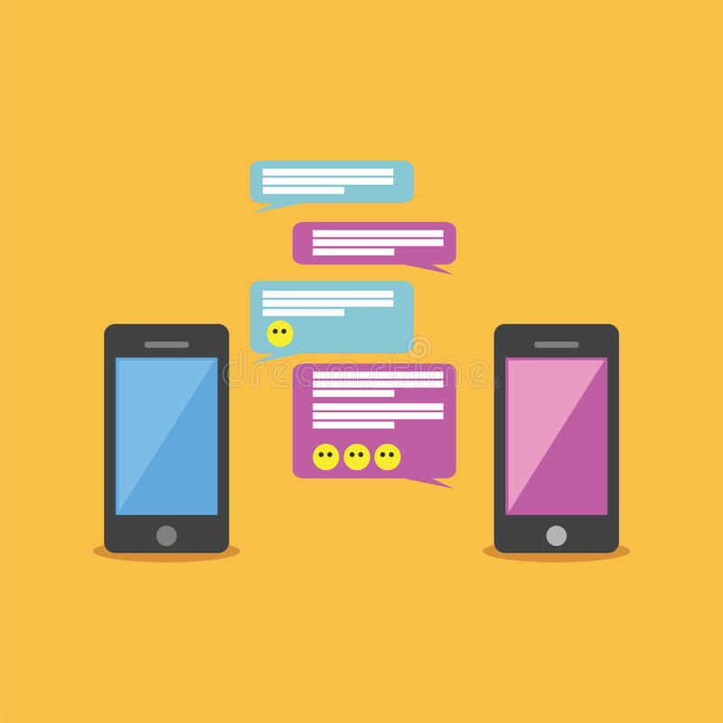Mobile chat or conversation of people via mobile phones. vector illustration