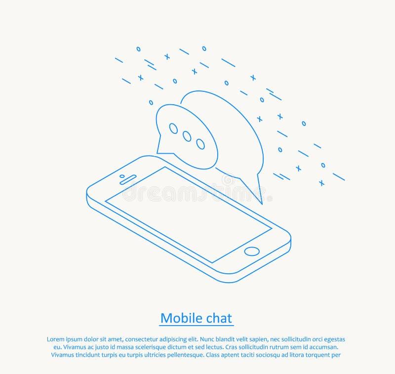 Mobile chat thin line design. Illustartion of mobile chat thin line design stock illustration
