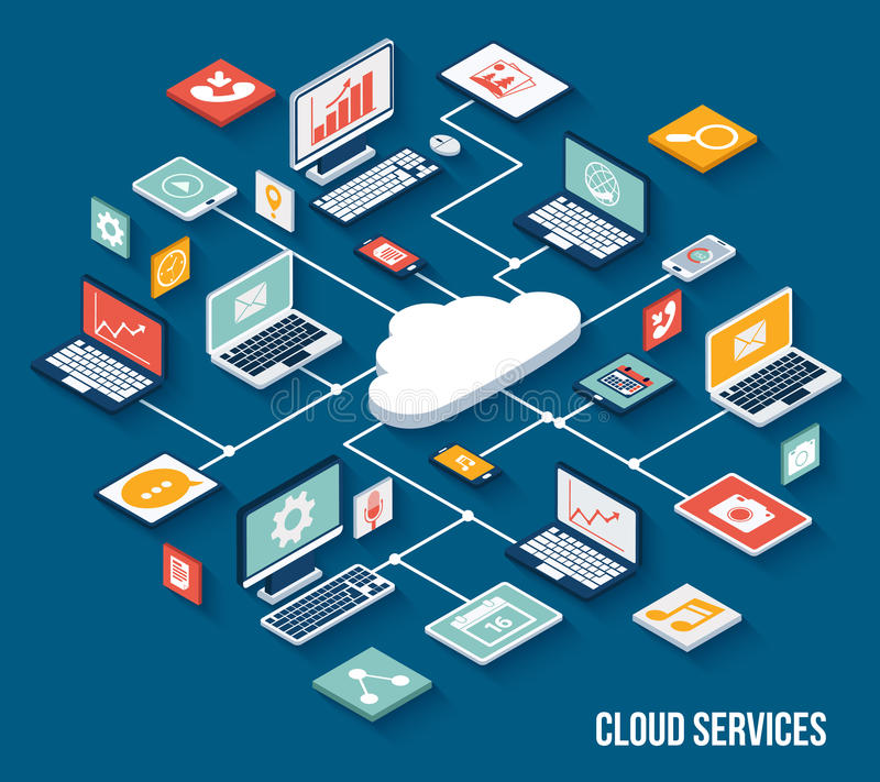 Mobile cloud services isometric. Mobile smartphone services cloud concept with isometric application buttons set vector illustration stock illustration