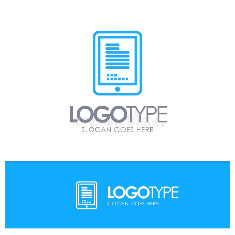 Mobile, Coding, Hardware, Cell Blue Logo Line Style royalty free illustration