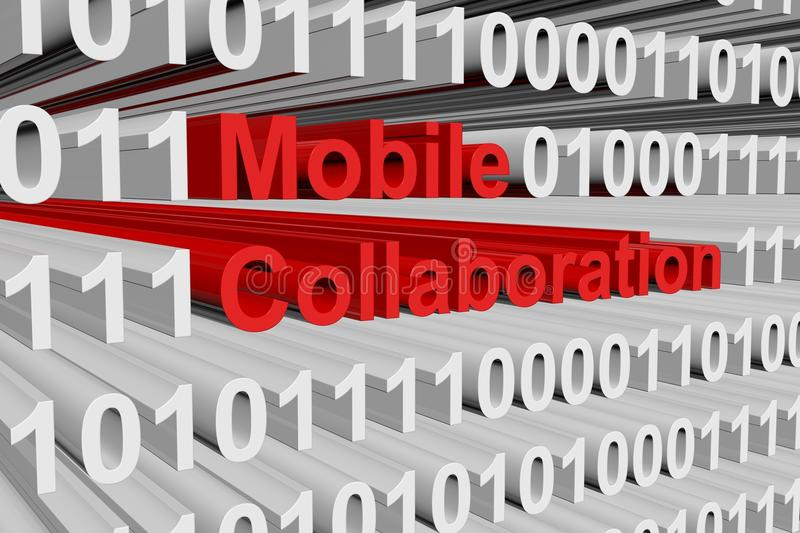 Mobile collaboration. In the form of binary code, 3D illustration royalty free illustration