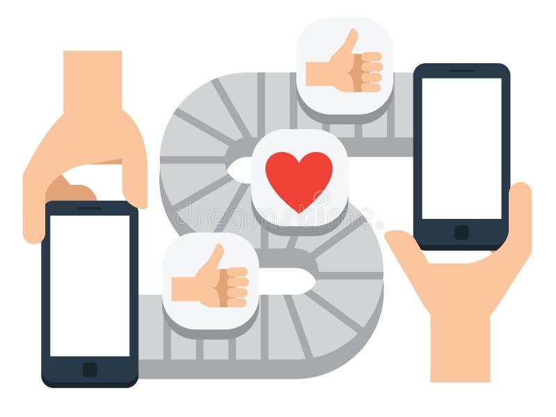 Mobile communication, conveyor smartphone messenger. vector illustration