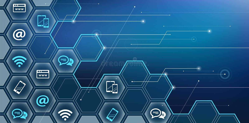 Mobile communication / digitalization concept stock illustration