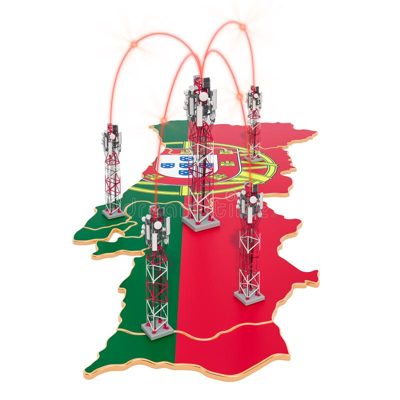 Mobile communications in Portugal, cell towers on the map. 3D rendering royalty free illustration