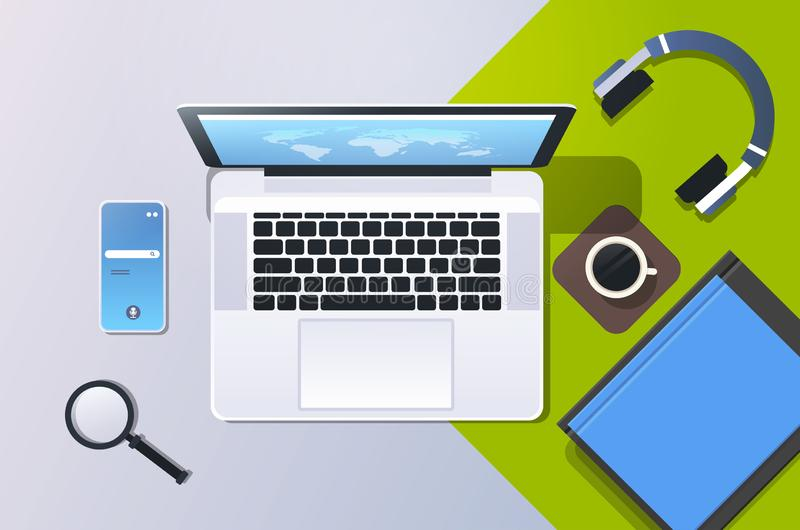Mobile computer app online top angle view workplace desktop with laptop smartphone screen office stuff horizontal royalty free illustration