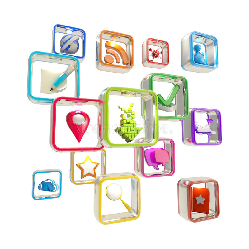 Mobile Computer Application Icons Isolated Stock Images