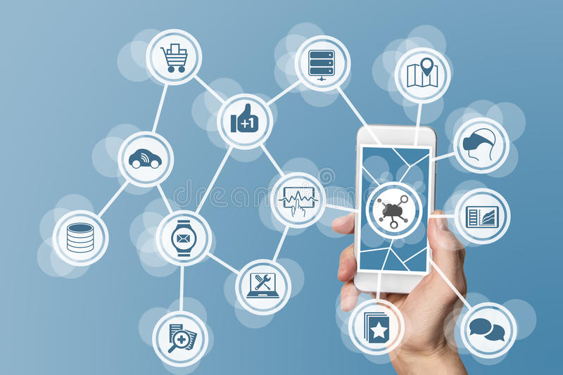 Mobile computing in the cloud with hand holding modern smart phone with touch screen.  stock image
