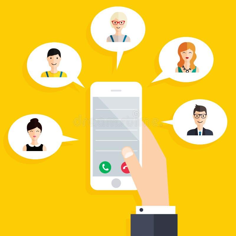 Mobile connection infographics element. Social Network stock illustration