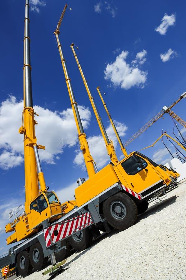 Mobile construction cranes stock image