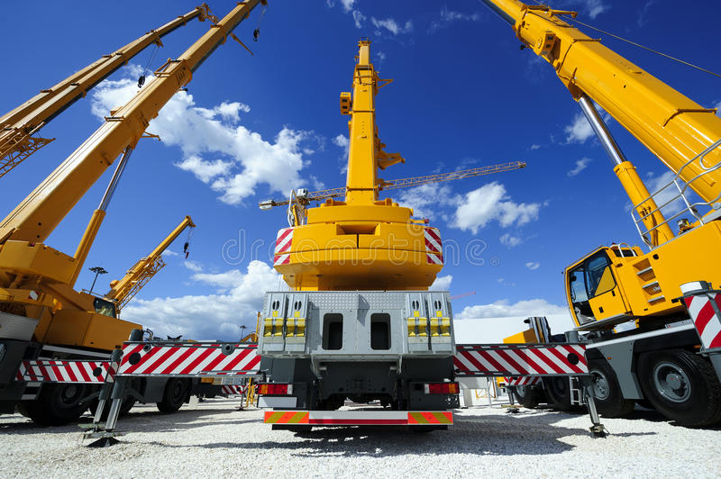 Mobile construction cranes royalty free stock images