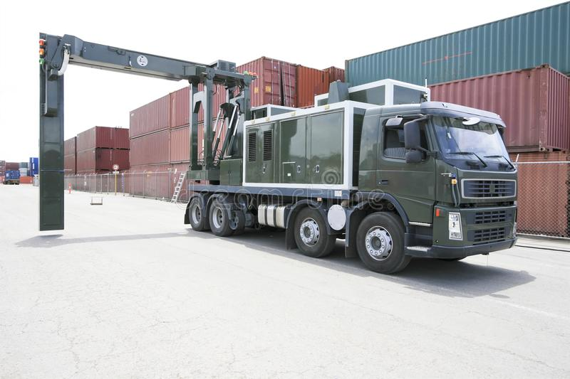 Mobile container scanner truck royalty free stock photos