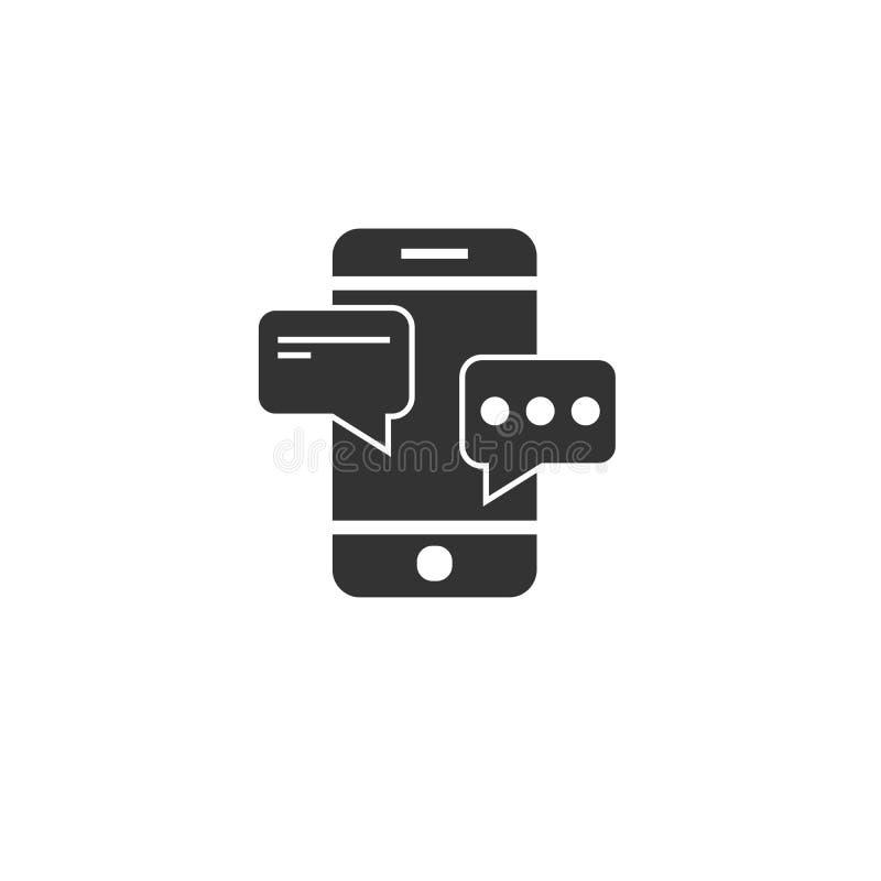 Mobile Conversation Chat icon black . sign design flat style. design. symbol. vector Illustrator. on white background stock illustration