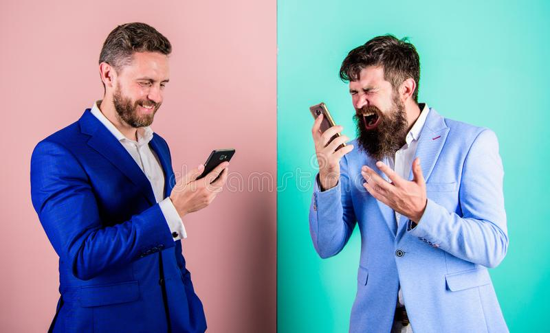 Mobile coverage and connection quality. Businessmen use modern gadget smartphone online access. Business people use stock image