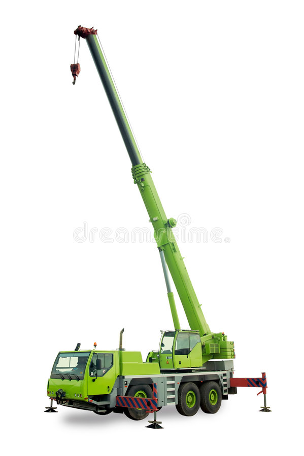 Mobile crane. Isolated green mobile crane with boom up