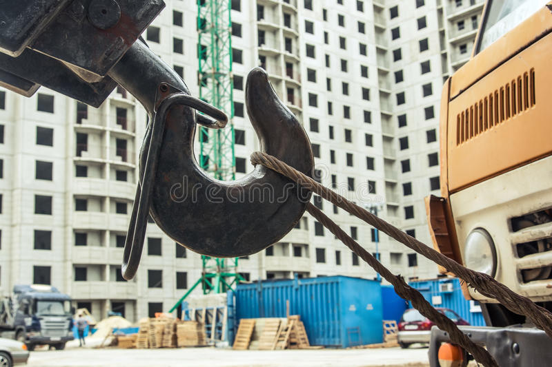 Mobile crane at construction site royalty free stock photo