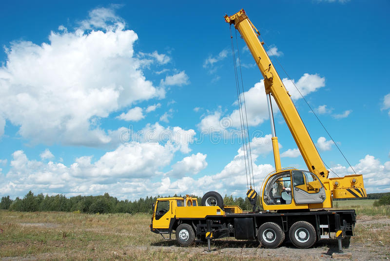Mobile Crane With Risen Boom Royalty Free Stock Image