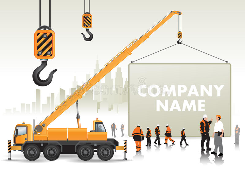 Mobile crane with signboard stock illustration