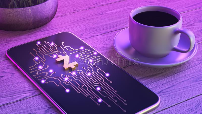 Mobile cryptocurrency trading concept. The smartphone is lying on a wooden table, next to a cup of aromatic coffee. Neon glow. 3d stock illustration