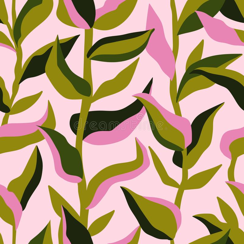 Cute retro set of leaf seamless patterns.  Simple design in pink and green colorways.  Vector repeating design for  fabric, wallpa vector illustration