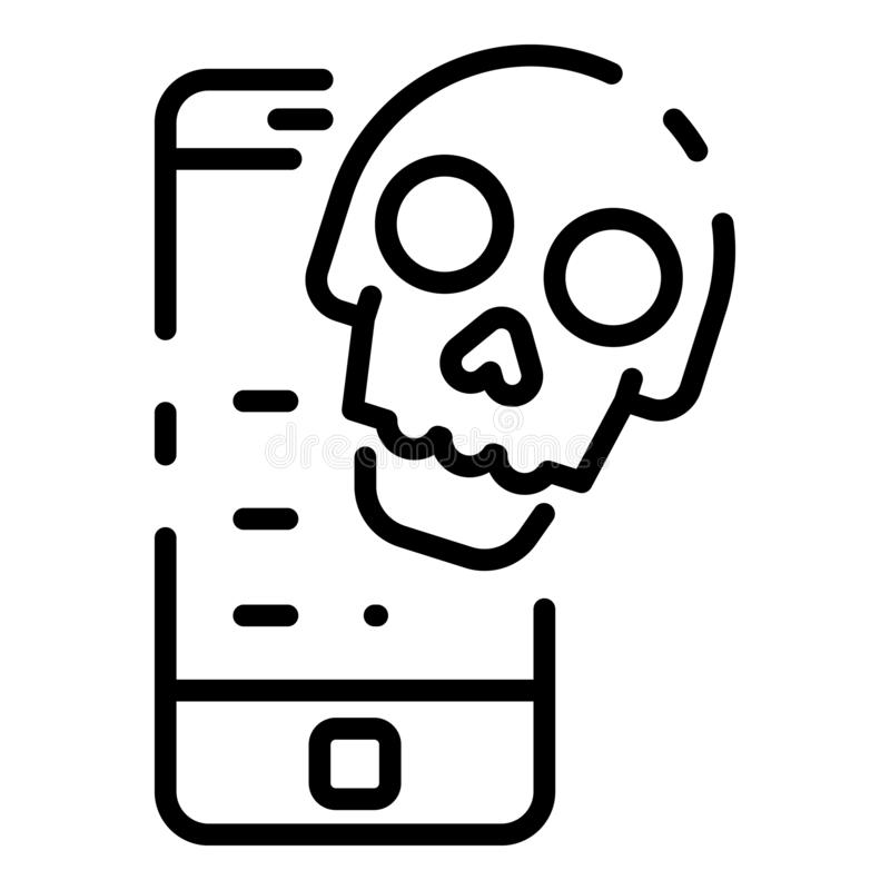 Mobile cyber attack icon, outline style vector illustration