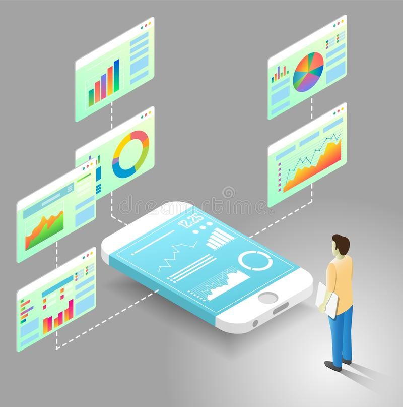 Mobile data analytics vector isometric flowchart vector illustration