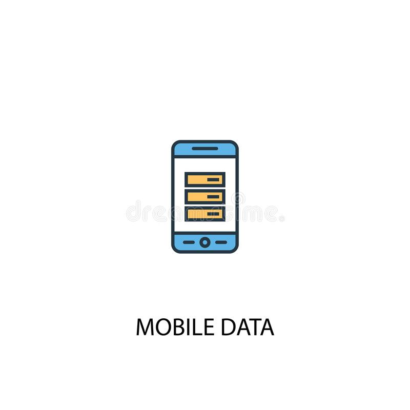 Mobile data concept 2 colored line. Icon. Simple yellow and blue element illustration. mobile data royalty free illustration