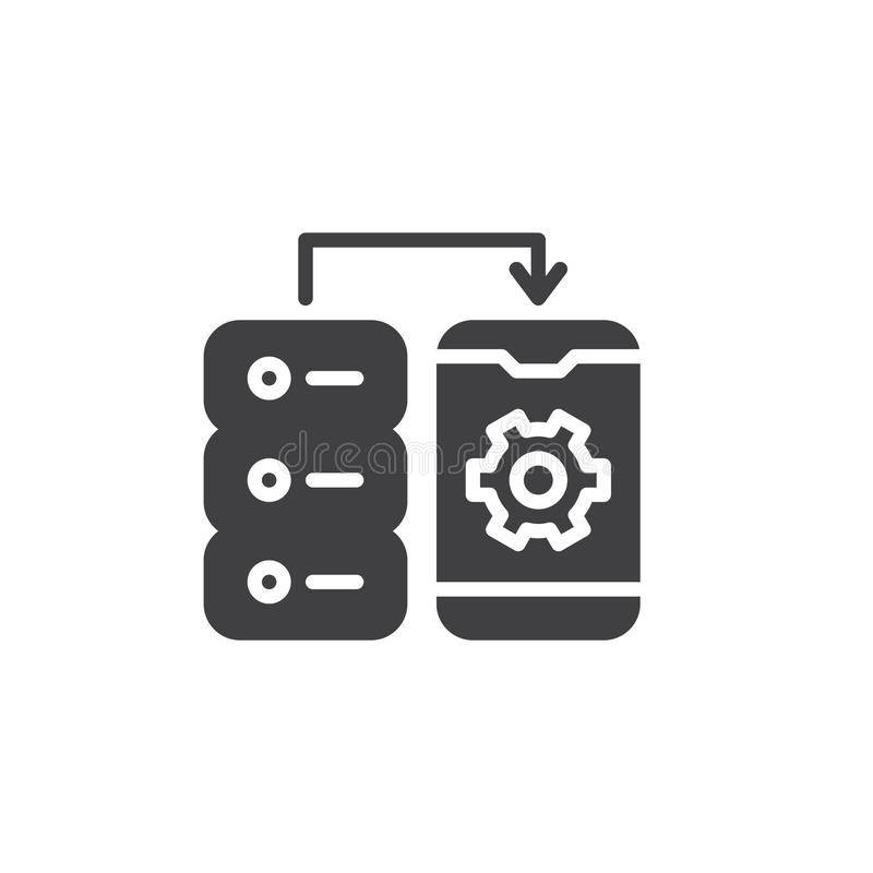 Mobile data connection settings vector icon stock illustration