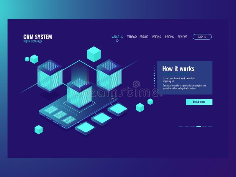 Mobile data, incoming data flow, database data center, development of mobile application installation concept stock illustration