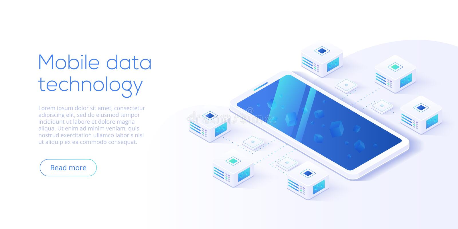 Mobile data processing technology in isometric vector illustration. Information storage and analysis system. Digital technology w. Ebsite landing page template vector illustration