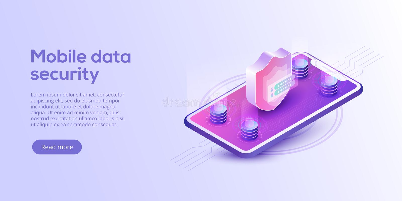 Mobile data security isometric vector illustration. Online payment protection system concept with smartphone and credit card. Sec royalty free illustration