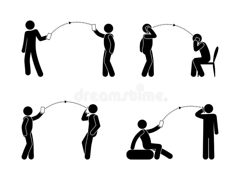 Mobile data transfer, man and phone icons, people interacting and talking, calls and sms stick figure pictogram vector illustration