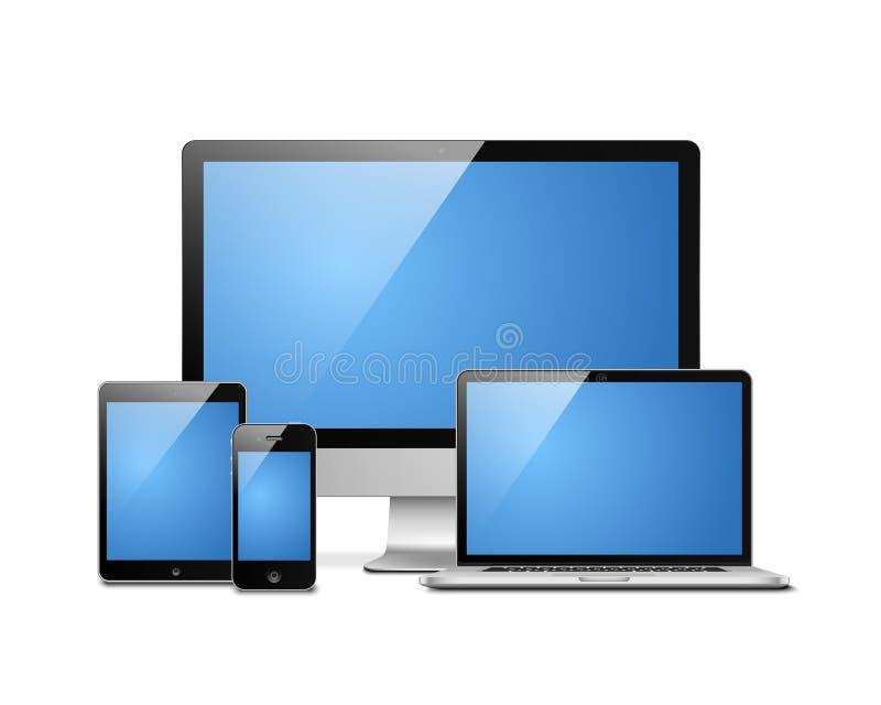 Mobile de bureau de comprimé d'ordinateur portable illustration libre de droits