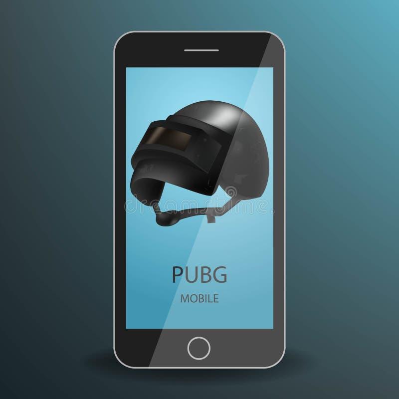 Mobile de PUBG G sur un smartphone noir réaliste Sur le casque métallique de noir d'écran Concept de jeu de champs de bataille Il illustration stock