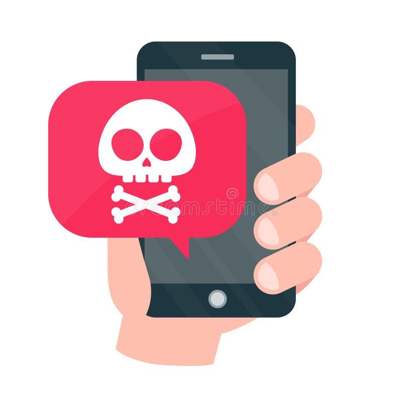 Mobile de Smartphone dans le concept de danger illustration libre de droits