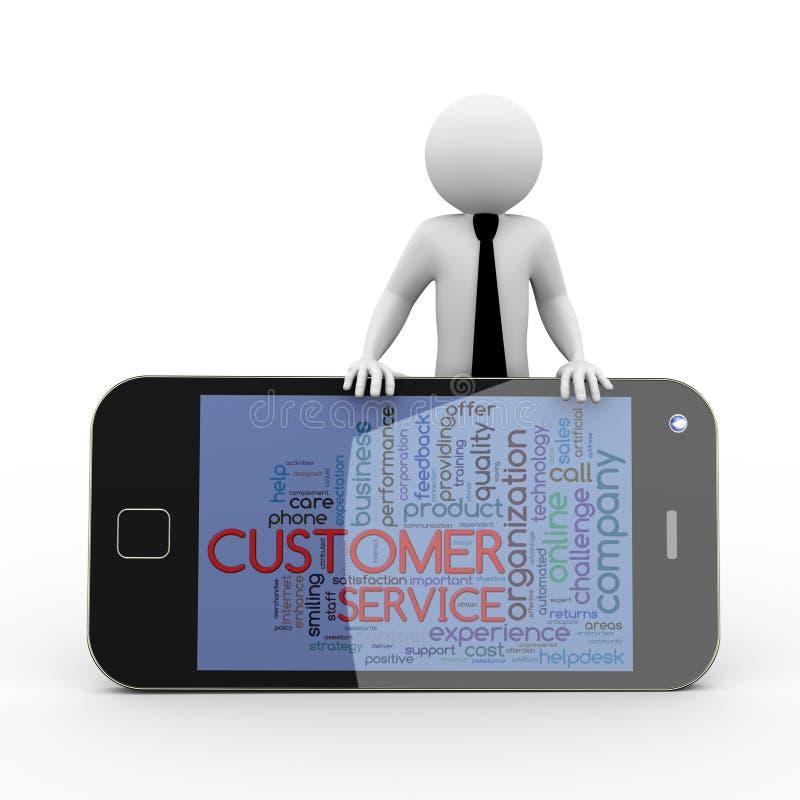 mobile de wordcloud de service client de l'homme d'affaires 3d illustration libre de droits